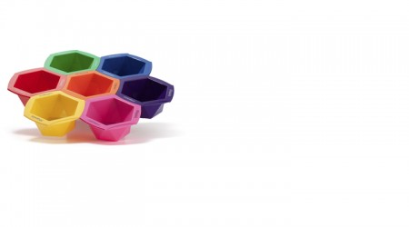 Set of 7 colored hair dyeing bowls